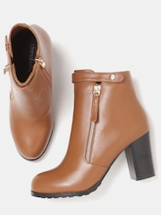 DressBerry Women Tan Brown Solid Mid-Top Flat Boots