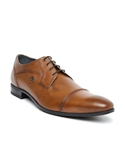 Louis Philippe Men Tan Brown Genuine Leather Derby Formal Shoes