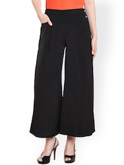 Ruhaans Women Black Solid Palazzo Trousers