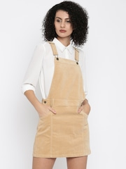 FOREVER 21 Women Beige Solid Dungaree Dress