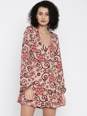 FOREVER 21 Women Beige Printed A-Line Dress