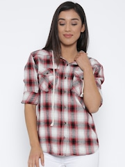 FOREVER 21 Women Off-White & Red Checked Hooded Casual Shirt