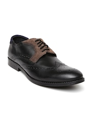 Knotty Derby Men Black & Brown Leather Brogue Shoes