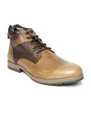 Knotty Derby Men Tonal Brown Mid-Top Leather Flat Boots