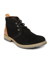 Knotty Derby Men Black Solid Mid-Top Derbys