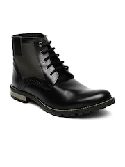 Knotty Derby Men Black Solid High-Tops Flat Boots