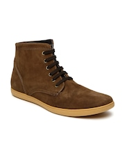 Knotty Derby Men Brown Solid High-Top Devon Flat Boots
