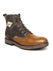 Lee Cooper Men Brown Solid Leather High-Top Flat Boots