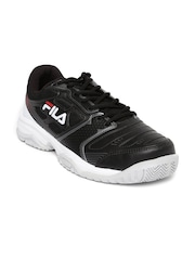 FILA Men Black Top Spin Tennis Shoes