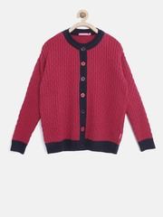Wingsfield Girls Pink Cable Knit Cardigan