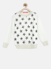 Wingsfield Girls Off-White Star Print Shimmer Sweater