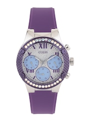 GUESS Women Blue Shimmer Multifunction Dial Watch W0773L4