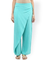 Pannkh Women Sea Green Solid Flared Fit Palazzos