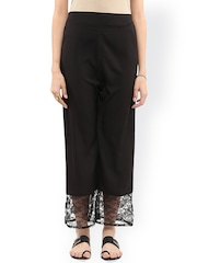 Pannkh Women Black Solid Regular Fit Palazzo Trousers