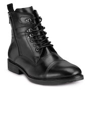 Teakwood Leathers Men Black Solid High-Top Boots