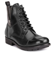 Teakwood Leathers Men Black Solid Leather High-Top Boots
