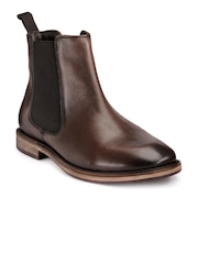 Teakwood Leathers Men Brown Solid Leather High-Top Boots