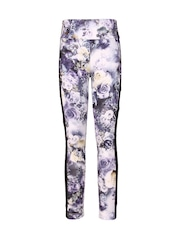 CUTECUMBER Girls Blue Floral Print Leggings