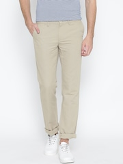 Indian Terrain Men Beige Solid Kankas Fit Flat-Front Trousers