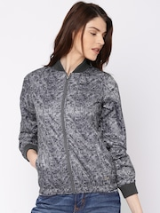 Pepe Jeans Grey Printed Windcheater