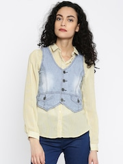 People Blue & White Striped Denim Waistcoat
