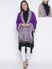 WEAVERS VILLA Purple & Grey Patterned Reversible Stole