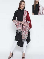 WEAVERS VILLA Red & Off-White Patterned Reversible Stole