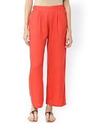 Jaipur Kurti Women Orange Solid Palazzo Trousers