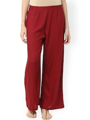 Jaipur Kurti Women Maroon Solid Palazzo Trousers