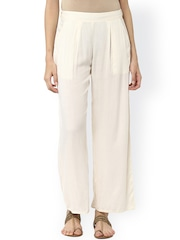 Jaipur Kurti Women Off-white Solid Palazzo Trousers