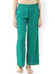 Jaipur Kurti Women Green Solid Palazzo Trousers