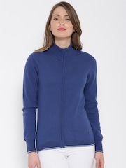 United Colors of Benetton Women Blue Solid Cardigan