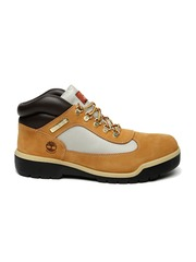 Timberland Men Tan Mid-Top Colourblocked Waterproof Suede Flat Boots