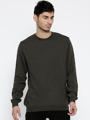 Wills Lifestyle Men Brown Woollen Patterned Sweater