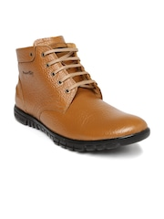 Red Chief Men Tan Mid-Top Flat Boots