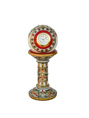 eCraftIndia White Dial Handcrafted Analogue Table Clock