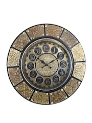 eCraftIndia Gold-Toned Dial Handcrafted Analogue Wall Clock