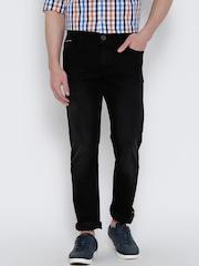 John Players Men Black Slim Fit Low-Rise Clean Look Jeans