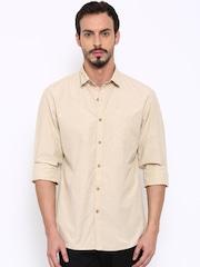 John Players Men Beige Trim Fit Self-Design Casual Shirt
