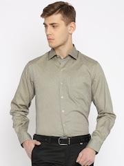 John Players Men Beige & Navy Slim Fit Printed Smart Casual Shirt