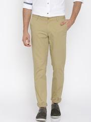 John Players Men Beige Solid Slim Fit Flat-Front Trousers