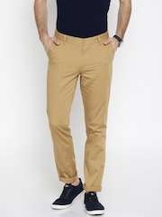 John Players Men Beige Solid Slim Fit Chino Trousers