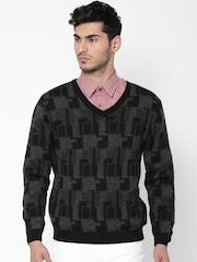 Wills Lifestyle Men Black & Grey Melange Patterned Sweater