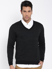 Wills Lifestyle Men Black Patterned Sweater