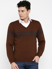 Wills Lifestyle Men Brown Sweater