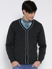 Wills Lifestyle Men Charcoal Grey Solid Cardigan