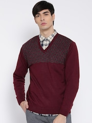Wills Lifestyle Men Maroon Patterned Sweater