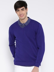 Wills Lifestyle Men Blue Solid Sweater