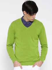 Wills Lifestyle Men Green Solid Sweater