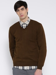 Wills Lifestyle Men Brown Solid Sweater